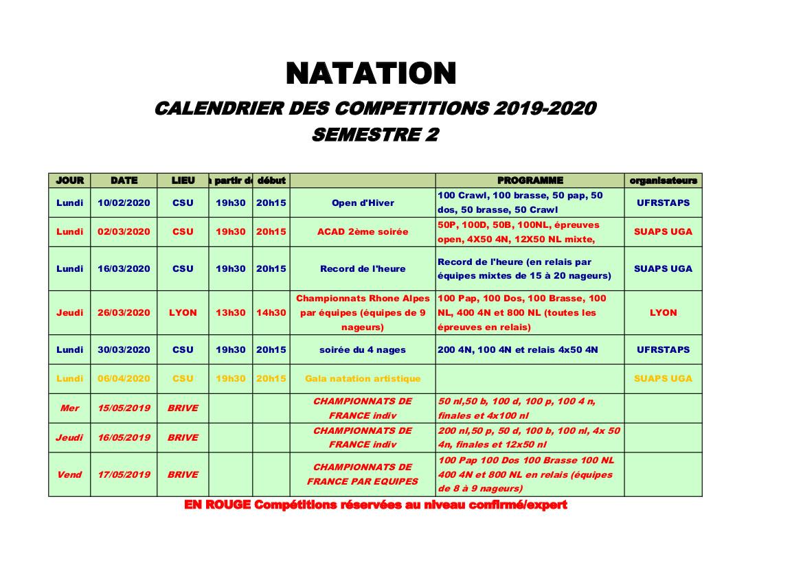 calendrier compétition semestre 2
